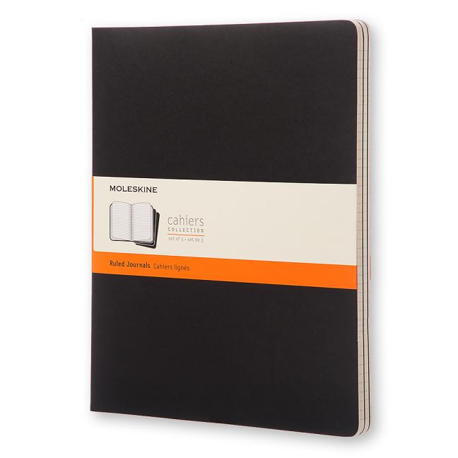 "Moleskine Cahier Journal (Set of 3), Extra Extra Large, Ruled, Black (8.4 x 11""). Moleskine"