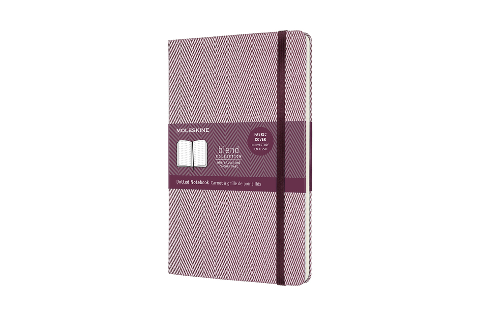 "Moleskine Blend Limited Collection Notebook, Large, Dotted, Herringbone Purple (5 X 8.25"")...."