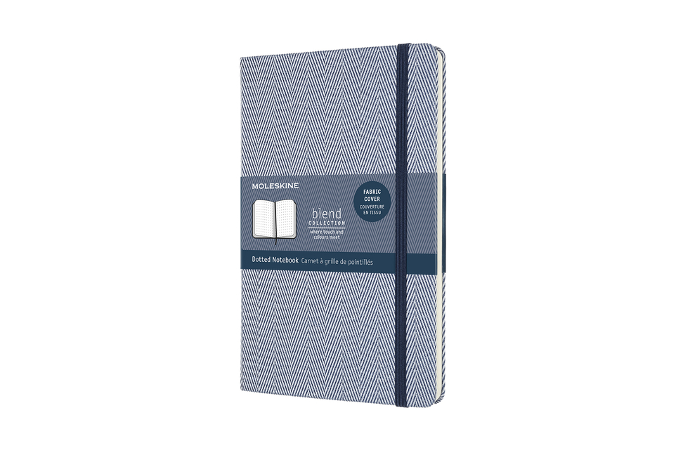 "Moleskine Blend Limited Collection Notebook, Large, Dotted, Herringbone Blue (5 X 8.25""). Moleskine"