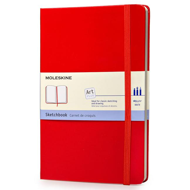"Moleskine Art Plus Sketchbook, Large, Plain, Red, Hard Cover (5 X 8.25""). Moleskine"