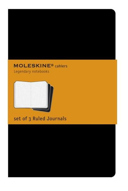 "Moleskine Cahier Journal (Set of 3), Large, Ruled, Black, Soft Cover (5 X 8.25""). Moleskine"